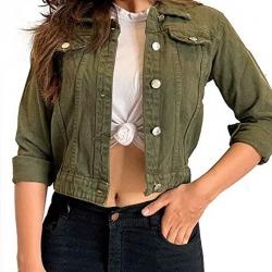 Full Sleeves Comfort Fit Regular Denim Turn-Down Jacket for Women