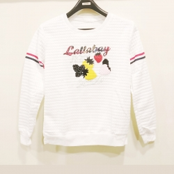 Boat-Neck Long Sleeve Heart Print Soft Sweater