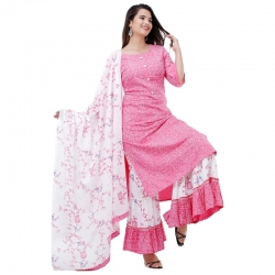 Bandhani Print Straight Kurta With Sharara & Dupatta