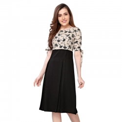 Floral Print Pleated Party Wear Dress