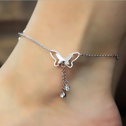 Stylish Wild Butterfly Crystal One Leg Anklet