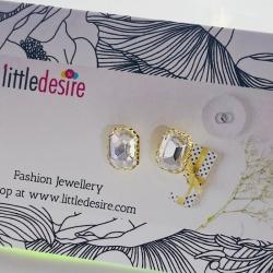 CZ Golden Plated Stud Earrings